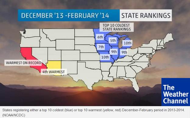 Exhibit 1: States Hit Hardest by Extreme Weather Between Dec 2013 - Feb 2014